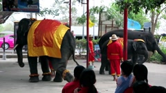 THAILAND: Elephants dancing for a crowd in a street circus - Animal rights Stock Footage