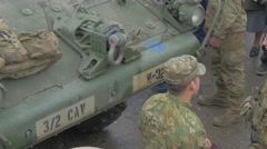 Soldiers Standing Near Panzer Nato Operation Opole Men Taking Off the Stock Footage