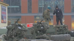 Soldier Shows a Panzer to Civilian Man Nato Operation in Opole Parade Military Stock Footage
