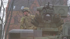 Multinational Nato Training Poland Young Soldier on a Tank Turred is Looking - stock footage