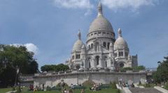 Christian chapel, church, basilica Sacre Coeur, Paris religious landmark, summer Stock Footage
