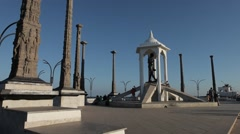 Mahatma Gandhi Statue with Ancient Pillars in Promenade Pondicherry Stock Footage