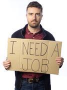 Unemployed man isolated on white background Stock Photos