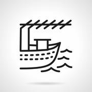 Fishing boat black line design vector icon Stock Illustration