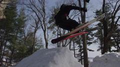 Stock Video Footage of Hilarious ski crash - epic fail on huge snow jump