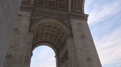 Detail of Arch of Triumph under the monument Parisian architecture, french style Stock Footage