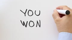 You won written on whiteboard Stock Footage