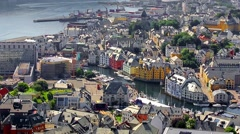 Alesund panoramic view from Aksla mountain, Norway Stock Footage
