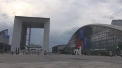La Defense business area, money district in Paris, Le grande arch monument, city Stock Footage