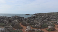 Volcanic rocks and sand Atlantic Stock Footage