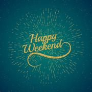 hello Weekend. Poster - stock illustration
