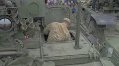 Kids Getting Into Panzer Hatch Nato Operation Opole Poland Soldiers and Stock Footage
