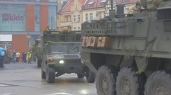 Military Vehicles at the Parade Opole Poland Atlantic Resolve Operation Stock Footage