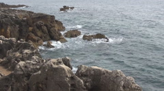 The rocky shores of the Atlantic Ocean Portugal - stock footage