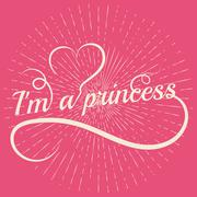Princess word letters with heart - stock illustration