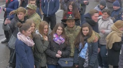 Mixed Race Soldiers and Girls Nato Operation Opole Poland People Taking Photo Stock Footage