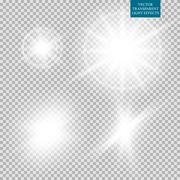 Abstract image of lighting flare. Set - stock illustration