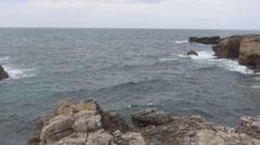 Panorama of rocky coast Stock Footage