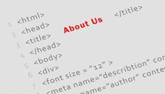"Printed html code for ""About us"" page Stock Photos"