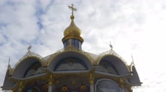 Summer Altar Top of an Alcove Golden Cupola Images Under the Roof Columns - stock footage