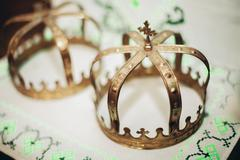Stock Photo of Elegant wedding crown or tiara preparing for marriage in church