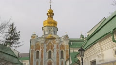 Decorated Entrance to Dormition Cathedral Images Painted on the Wall Holy - stock footage
