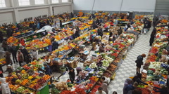 Market interior at fruit and vegetable stand. Stock Footage