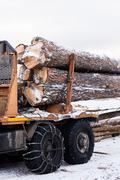 Timber truck just finished loading Stock Photos