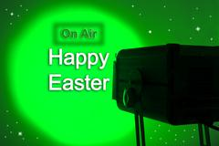 Spotlight and written on air and Happy Easter Stock Illustration