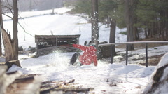 Extreme Sport Winter Tricks on Ski Hill Jumps - Crash and slow motion fall. Stock Footage