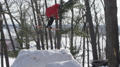 Stock Video Footage of Extreme Sport Winter Tricks  - Slow motion fail - crash and fall.