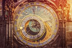 Astronomical Clock on Prague Old Town Square - stock photo