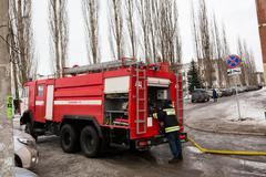 Fire protection machine. Russia, Ufa - March 13 2016. Stock Photos