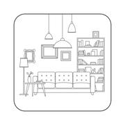 Living room line interior - stock illustration