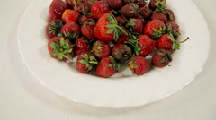 Lots of strawberry on the plate, on a white background. stop motion Stock Footage