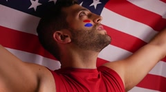 Patriotic American Guy in Slow Motion - stock footage