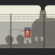 Danger zone with fence - stock illustration