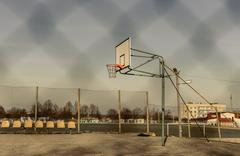 basketball court and hoop - stock photo