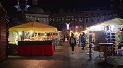 Christmas market, main square of Krakow, Poland. Stock Footage