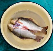 Purified fish is in a dish - stock photo