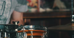 Hands of drummer. The musical group performs. Stock Footage