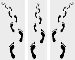 human bare footsteps - stock illustration