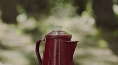 Steaming Coffee Pot With Percolator Stock Footage