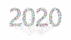 Exploding new year 2020 over white - stock footage