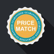 Price Match Quality Label Set in Flat Modern Design with Long Sh Stock Illustration