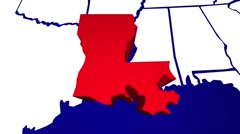 Louisiana LA United States of America 3d Animated State Map Stock Footage