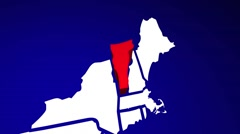 Vermont VT United States of America 3d Animated State Map Stock Footage