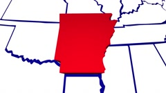 Arkansas AR United States of America 3d Animated State Map - stock footage