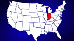 Indiana IN United States of America 3d Animated State Map Stock Footage