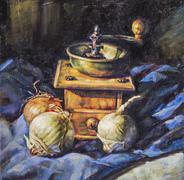 Oil painting of a grinder including garlic and onions Stock Illustration
